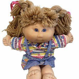 Vtg Cabbage Patch Doll Blonde Hair Purple Eyes 15""